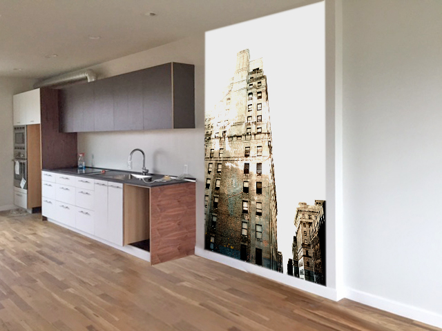 Rendering of an urban scene for an accent wall in a home.