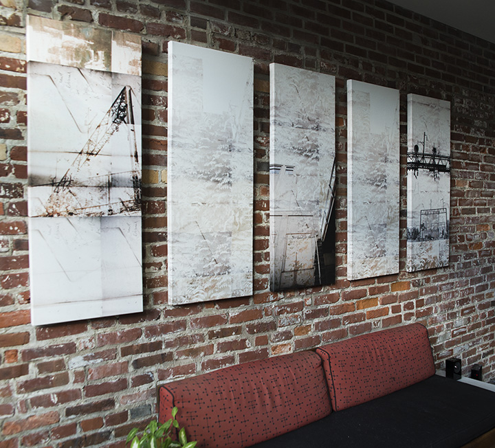 RKM Architects commissioned Julia to create an installation using five separate wallpaper designs. Julia worked with MDC Wallcoverings to create the panels, each printed on fabric and wrapped around a wood frame.