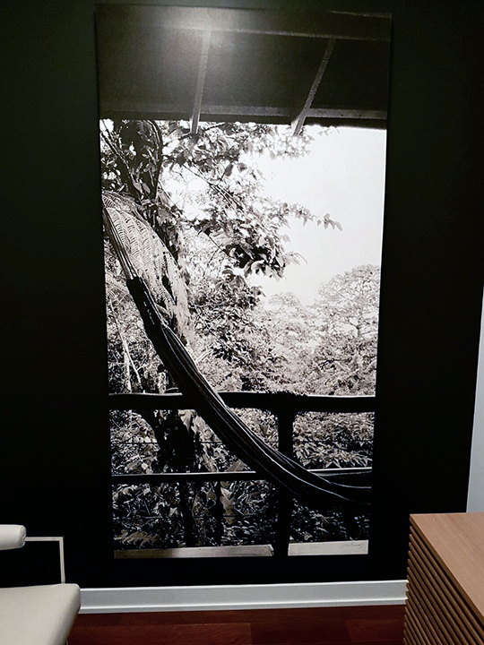 Photographs printed on fabric and wrapped around a wooden frame for a home in Toronto, Canada.