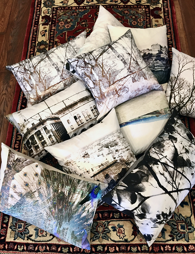 Photographic pillows, sold exclusively at Parisa Rugs & Decor in Old City, Philadelphia. Julia created them incollaboration withParisa Abdollahi, designer and owner.