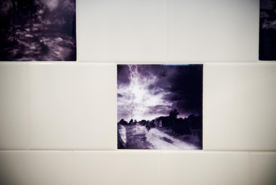Custom photographic ceramic tile for a kitchen backsplash. The client chose an image Julia took in Naro Moru, Kenya.