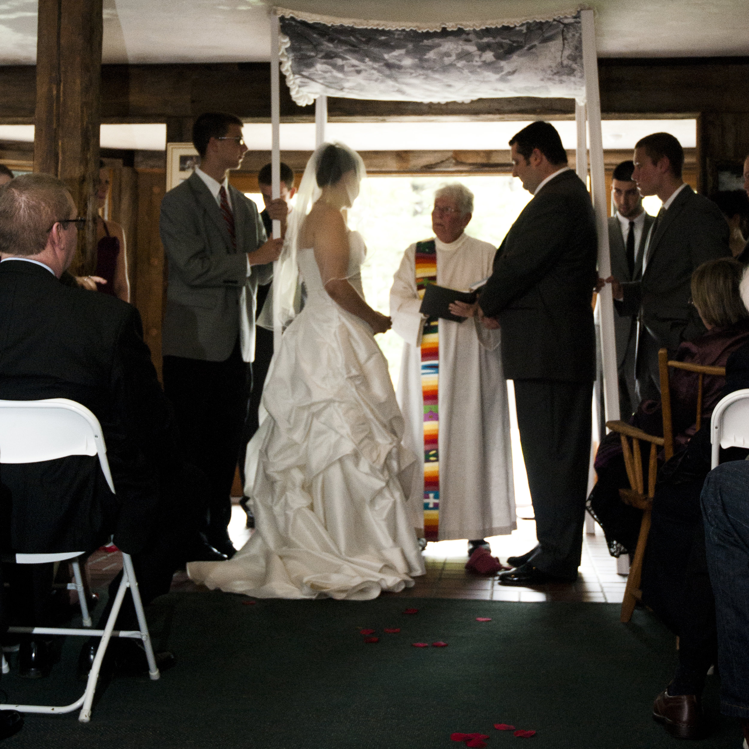 Photograph printed on fabric for a chuppah in a Vermont wedding.