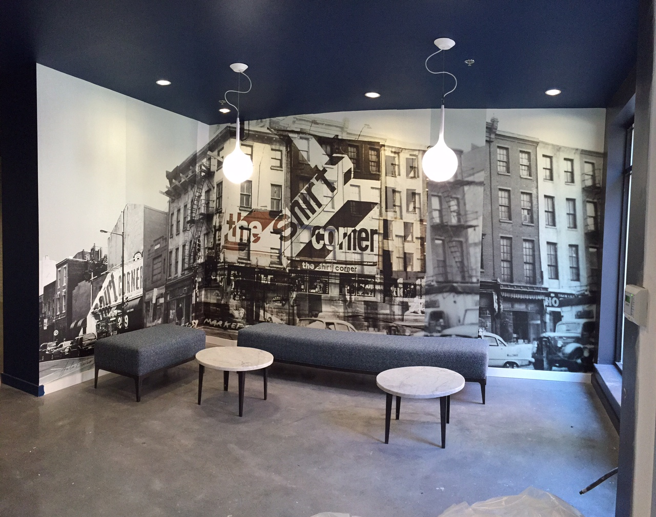 Photographic wall vinyl commissioned by  Alterra Property Group  for the lobby of  The Shirt Corner , an apartment building in Old City, Philadelphia. In collaboration with  Eileen Tognini .