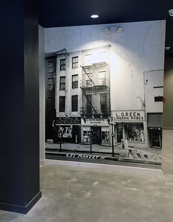 Alterra Property Group   commissioned Julia Blaukopf to create photo-based wall coverings for  their new building in downtown Philadelphia. The location has been known  as The Shirt Corner, named after Philadelphia's iconic men's department  store operating there for decades.