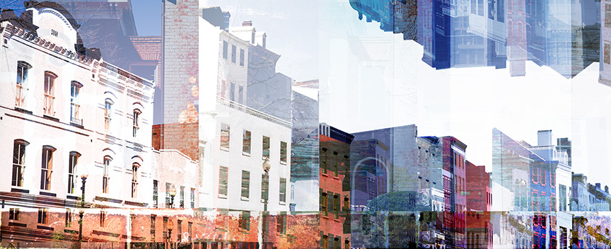 The original design in color. Julia first photographed Georgetown. She worked closely with  Hartman Design Group  to choose the most successful photograph to rework -- a city scene on M street NW. She then created a series of collages,   reworking and re-layering the piece until achieving the final version.