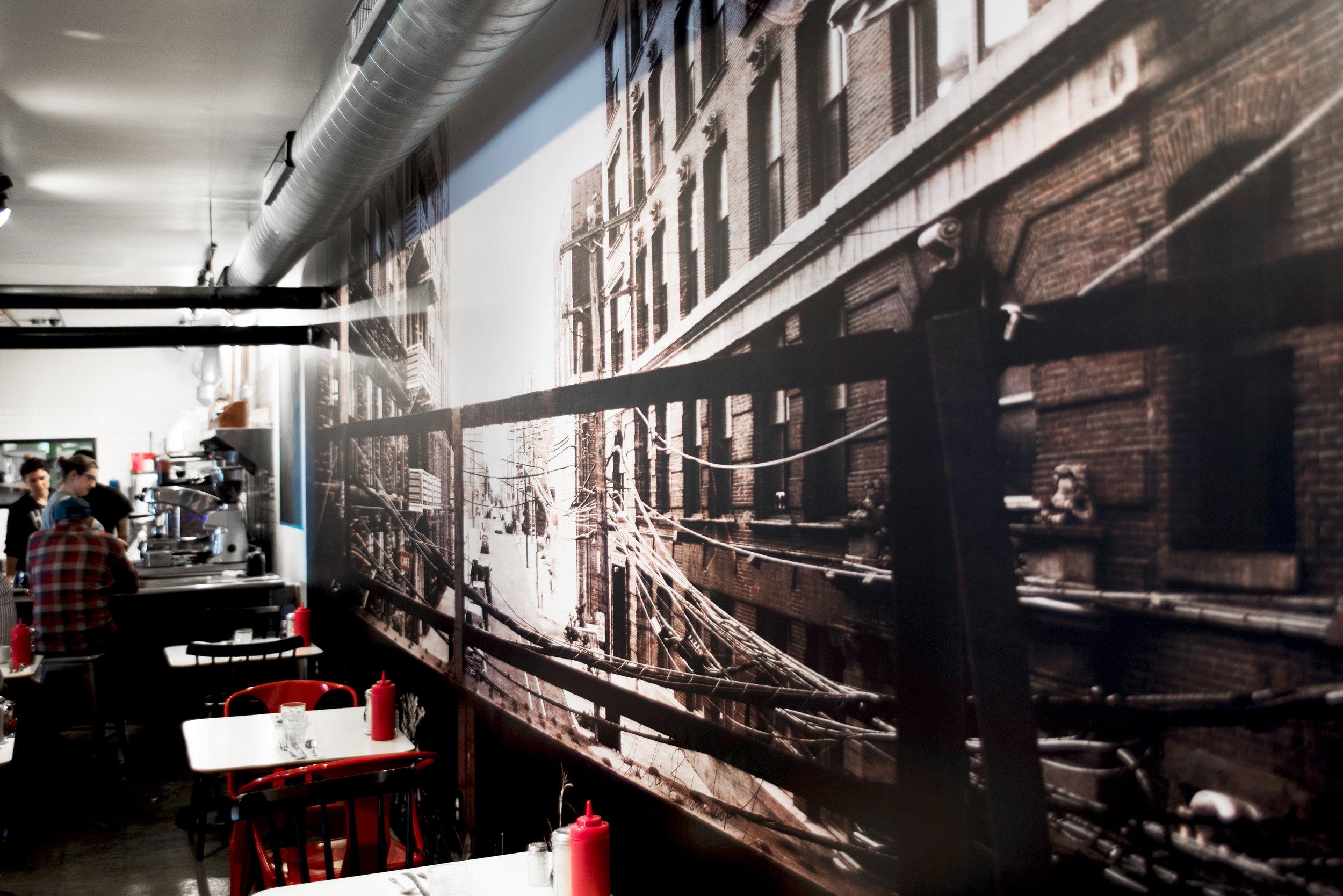 Detail of custom photo-based wallpaper for  Cafe Lift  in Philadelphia.