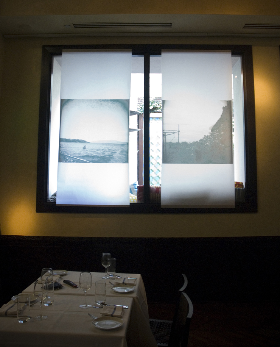 The Mediterranean, works on vellum, Stephen Starrr's pop-up restaurant. Curated by  Eileen Tognini , 2012.