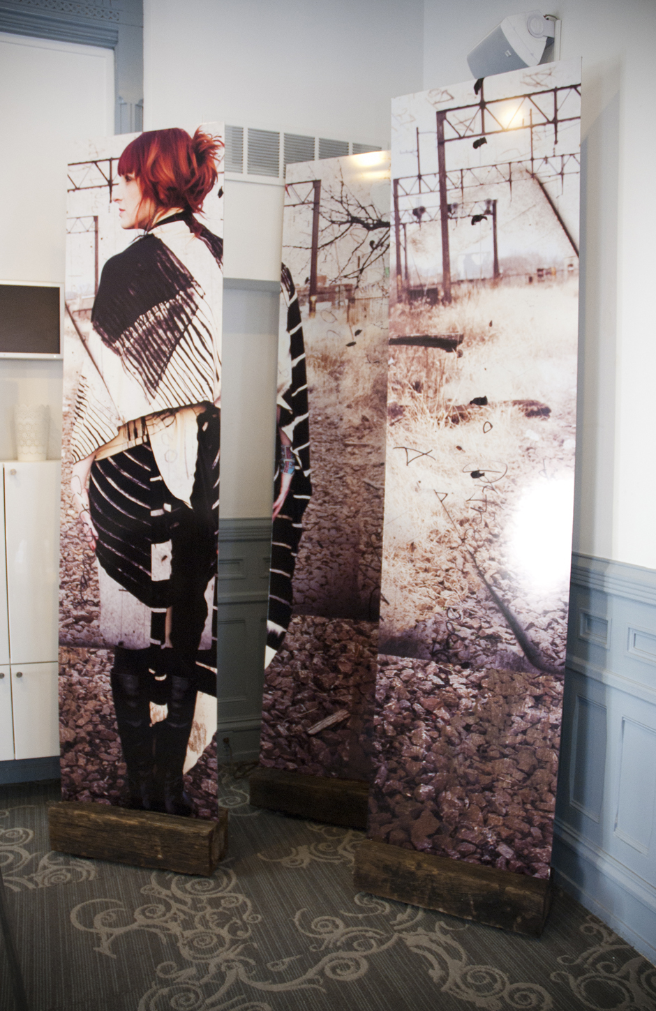 Surface, Fashion . Wallpaper panels depicting the work of  Melissa D'Agostino . Cityspace, Philadelphia, 2014.