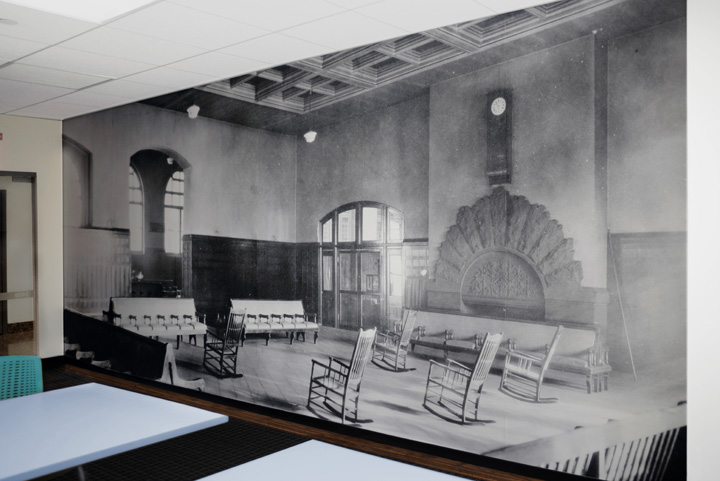 Photo-based wallpaper for  2400 Chestnut Apartments . Using a historic image of the waiting room of 30th Street Station.