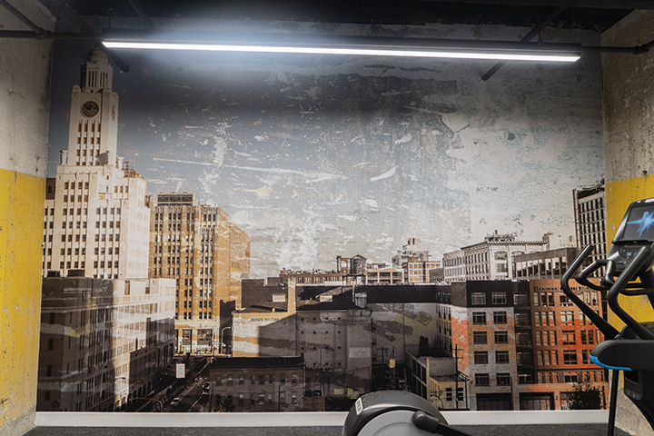 Custom photo-based wall-vinyl for  1600 Callowhill Apartments , a renovated apartment building in Philadelphia.
