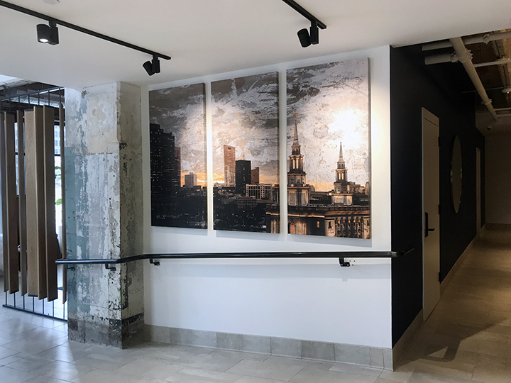 Custom photo-based artwork for  1600 Callowhill Apartments , a renovated apartment building in Philadelphia.