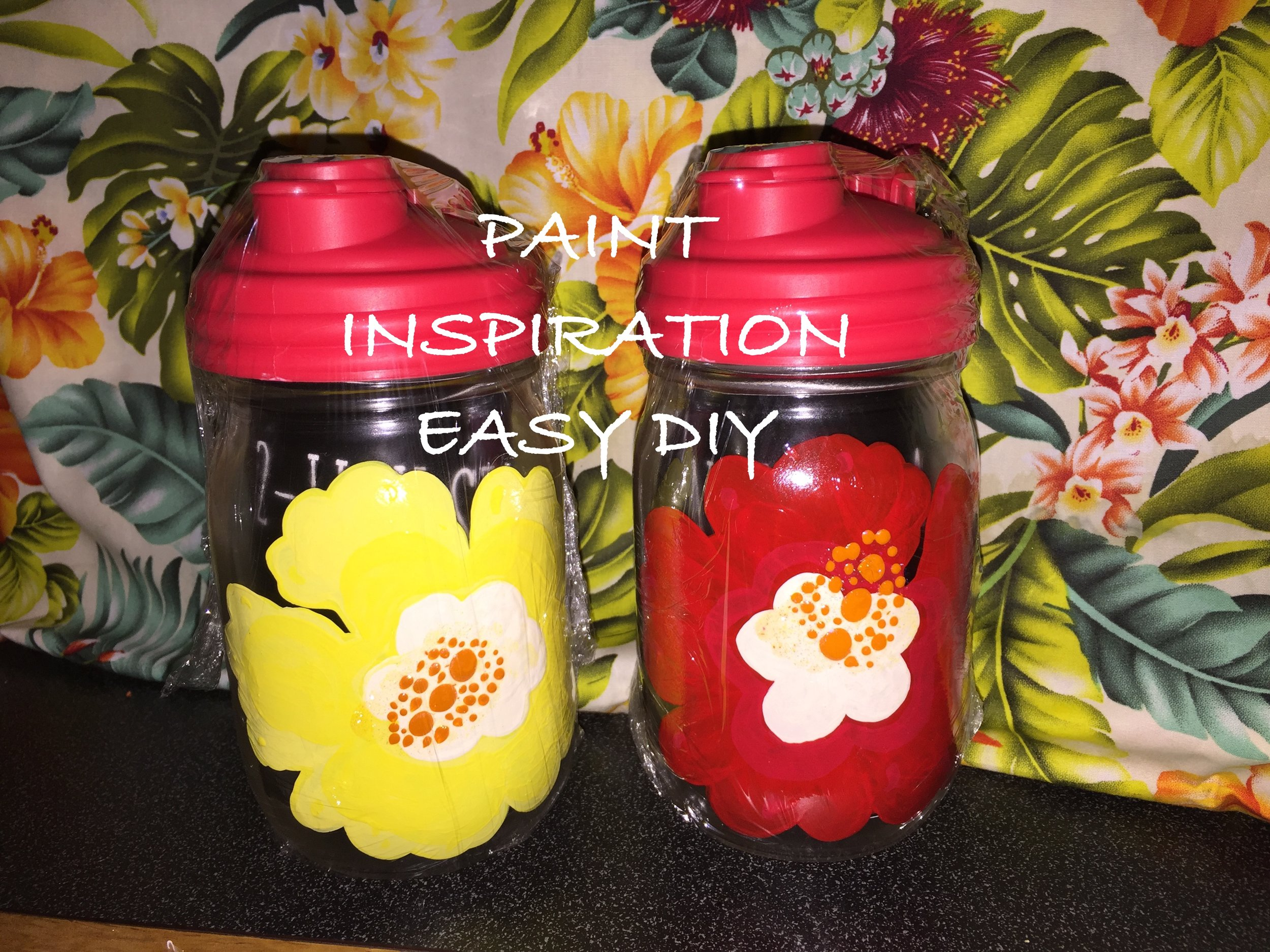 HIBISCUS EASY DIY MASON JAR WITH POUR SPOUT. PAINT INSPIRATION FOR BUSY PEOPLE. MOMENTS OF CALM DURING OUR BUSY LIVES.