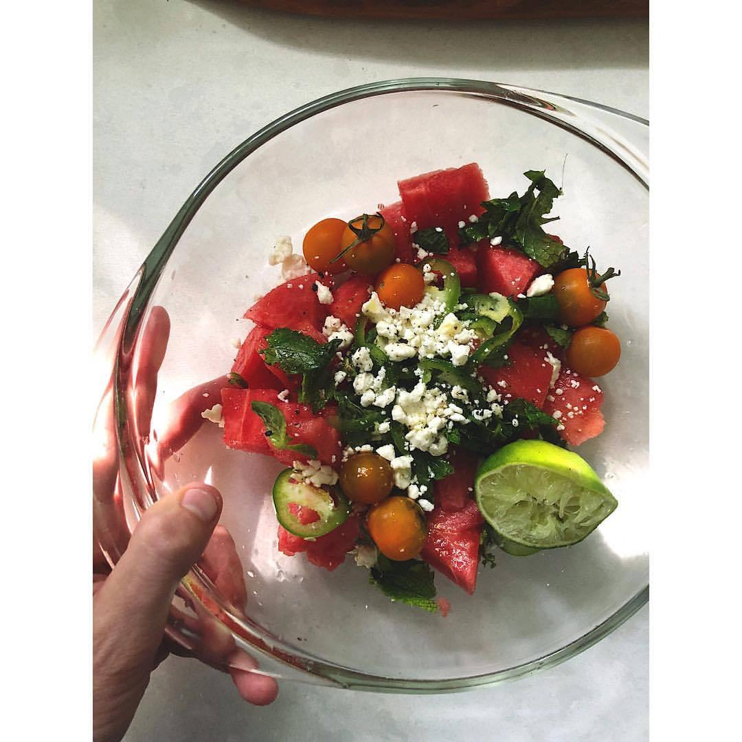 Watermelon Spearmint Tomato Jalapeño Lime Feta salad is the perfect example of adding some Yang heat (fresh jalapeño) to your therapeutically cooling foods (melon + mint + lime) so that they can more effectively balance & communicate with your body in the midst of the hottest season. In this severe TX summer, maybe think of this bit of spicy heat as bringing a native speaker along with you to a foreign country to which you are bringing aid in desperate times. It will speak the language of heat and, in many cases, allow you to do your best healing work. Stay cool today! ❤️☀️💦🇺🇸.  .  .  .  #independenceday #hotaf #summersalads #healingfoods #yinyang also #trumpistheworst #badvibes #allloveneedsisyou #stillwerise #mixedemotions #fourthofjulyfeels  (at Austin, Texas)