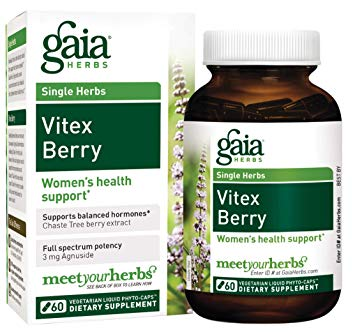 Gaia Herbs Vitex supplement for women's health & hormones. Please check with a provider to make sure this is right for you.