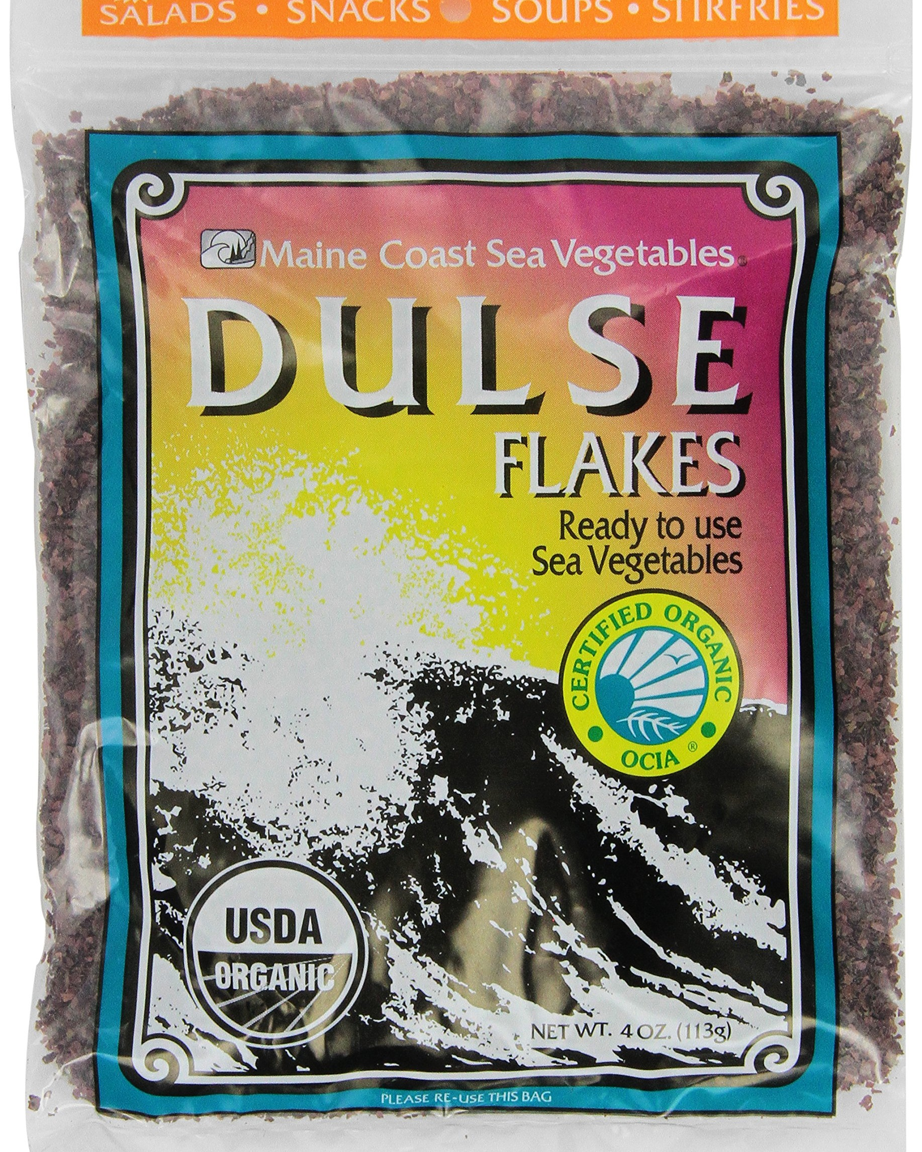 Whole dulse seaweed flakes.
