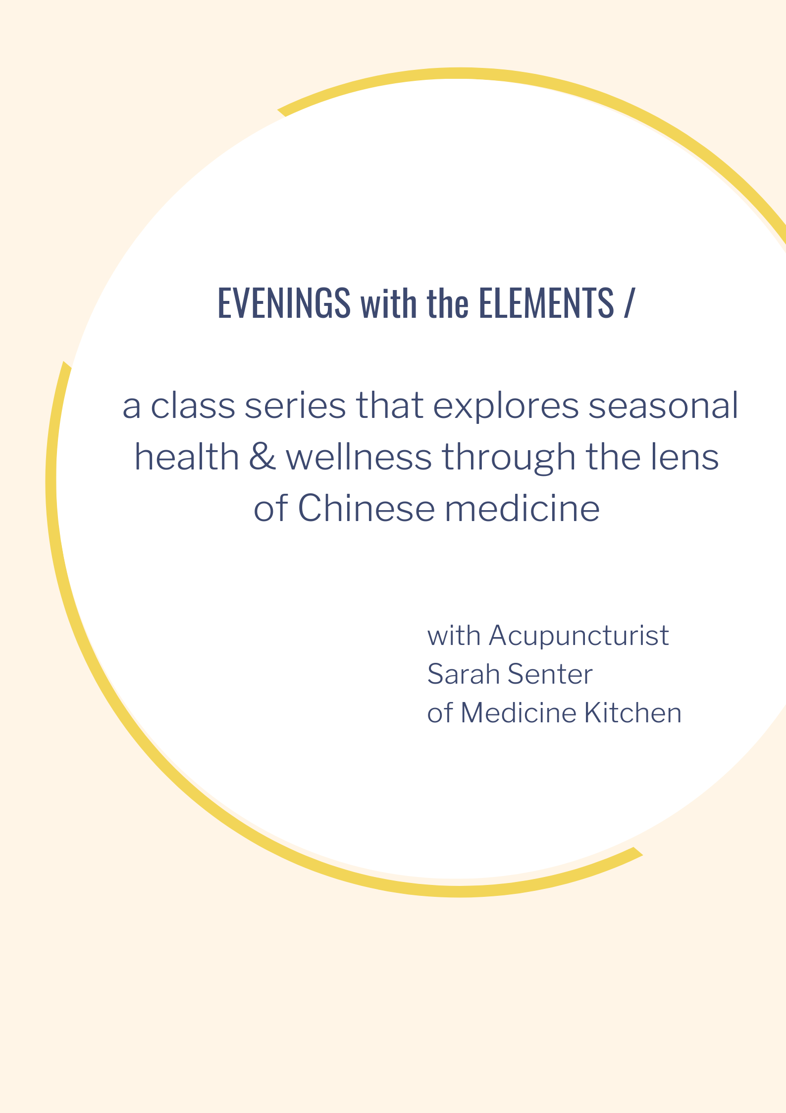 I'm so excited to launch this class series I've been working on called  Evenings with the Elements . The first class will be held November 6th, 2019 at 6:30PM at The Commune, a truly beautiful event space. Tickets are available  HERE . I'll be sharing on the topic of healing foods for fall wellness - focusing on immunity and respiratory health which is connected to the season. We will also learn some relevant breath work, herbal remedies, and acupressure that will help you through this fall. Andrea Cortez from  Mind Body Music  will be joining us with her harp as I lead you through a gentle meditation to align with the season. I can't wait - come join me!