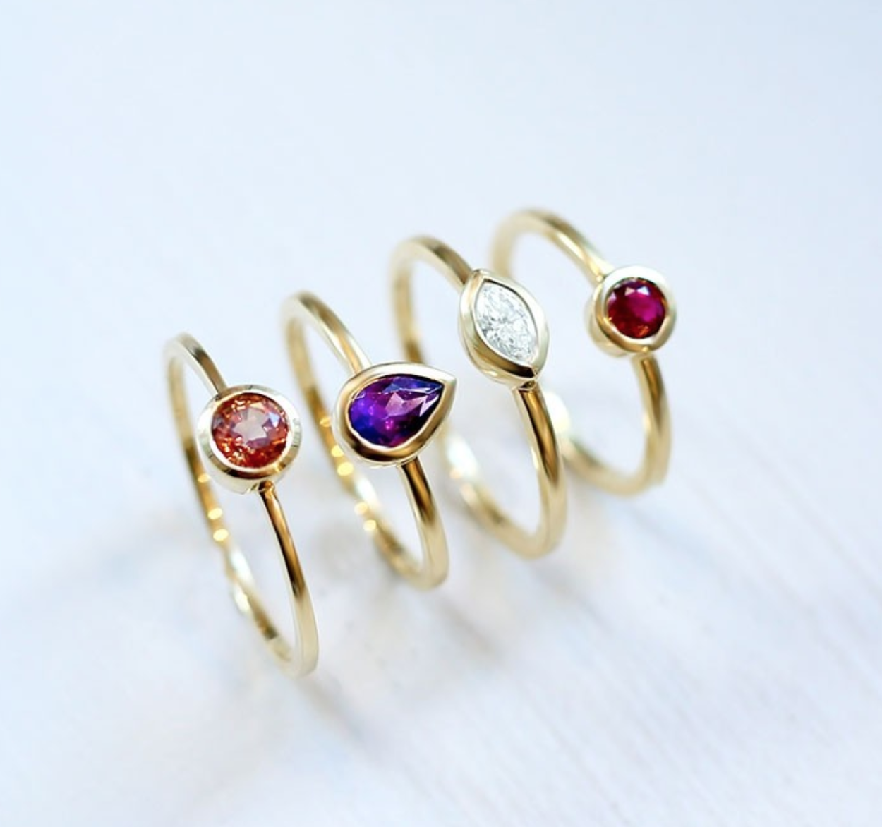 Stackable rings, yellow gold from $695 to $1235