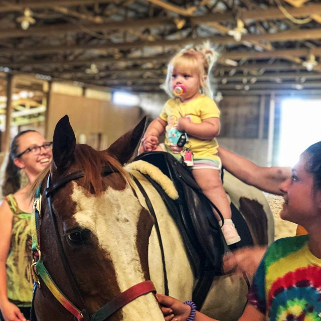 This precious little one enjoyed Petunia's Petting Zoo today! #pettingzoo #carltonfarms #futurehorserider