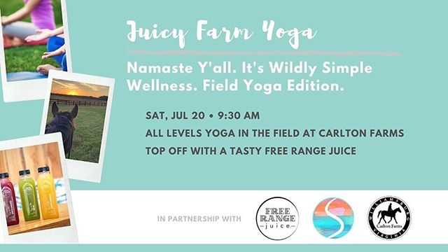 Namaste y'all! Link below for tickets!  https://www.eventbrite.com/e/juicy-farm-yoga-tickets-65059254983?utm-medium=discovery&utm-campaign=social&utm-content=attendeeshare&aff=escb&utm-source=cp&utm-term=listing