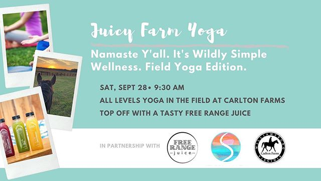 Get your tickets for our Juicy Farm Yoga on September 28th! 🧘‍♀️ 🍊 🐴 @studiosouthva @freerangejuiceva