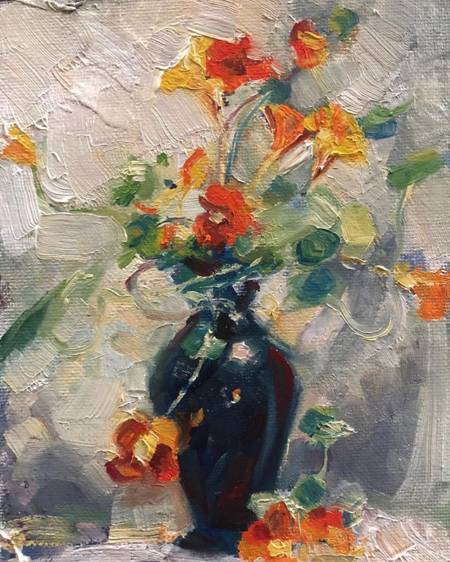 Nasturtiums 5x7 oil painting