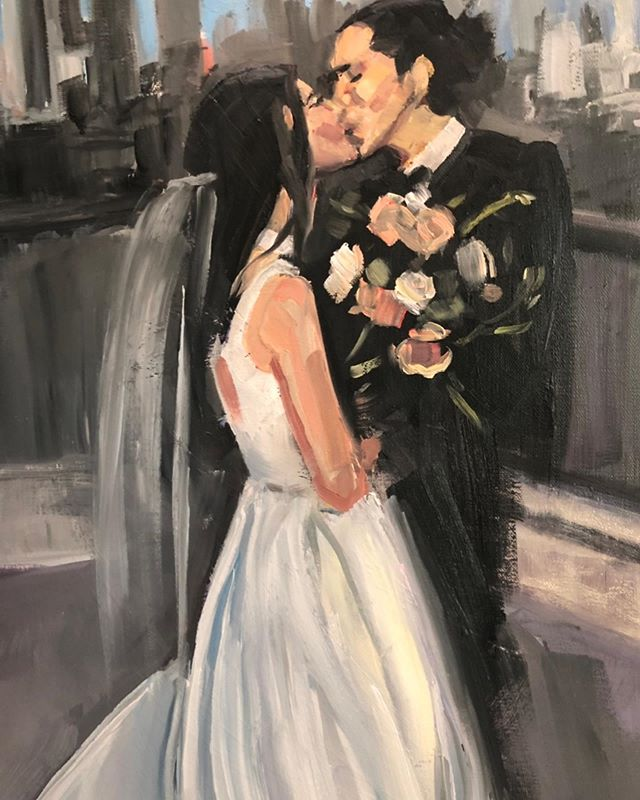 Wedding Portrait oil painting @chijmesdallas  background Dallas skyline.