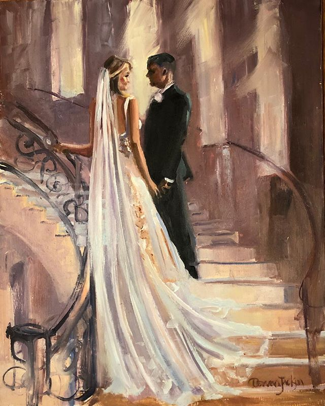 You remember the painting of Mariah and Aaron I did live at their wedding. I painted this one afterward in my studio from my photo I took of them. I love the way it shows off her train. She bought he beautiful dress at her Mothers bridal store #marymebridal And the circling staircase at #knottinghillplace