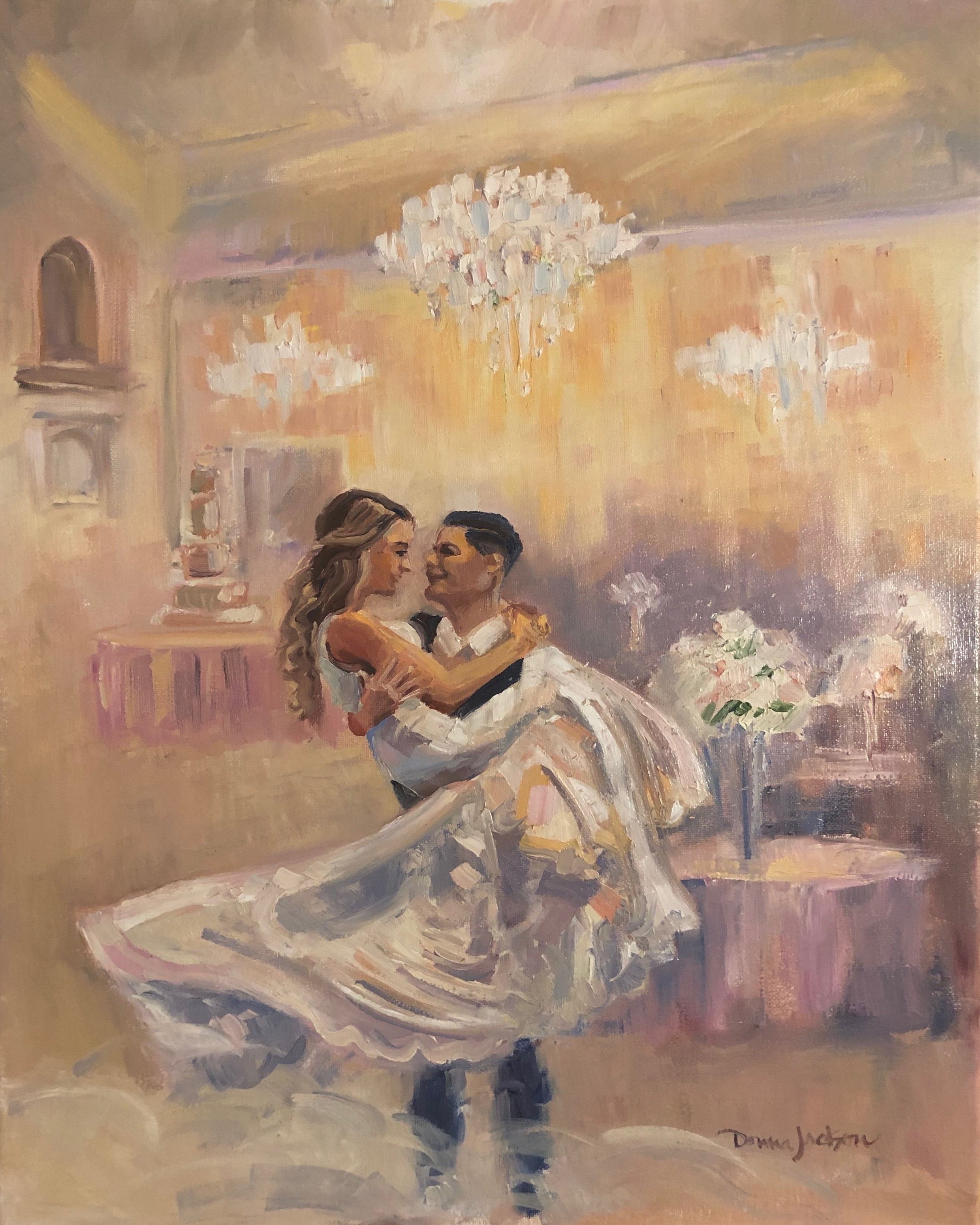 "Live Wedding Painting    ""This painting became one of the most treasured keepsakes from our wedding day. It's a gorgeous way to relive the bliss we experienced; a masterpiece created of our special moment while in our moment.""     Aaron and Mariah Sparkman"