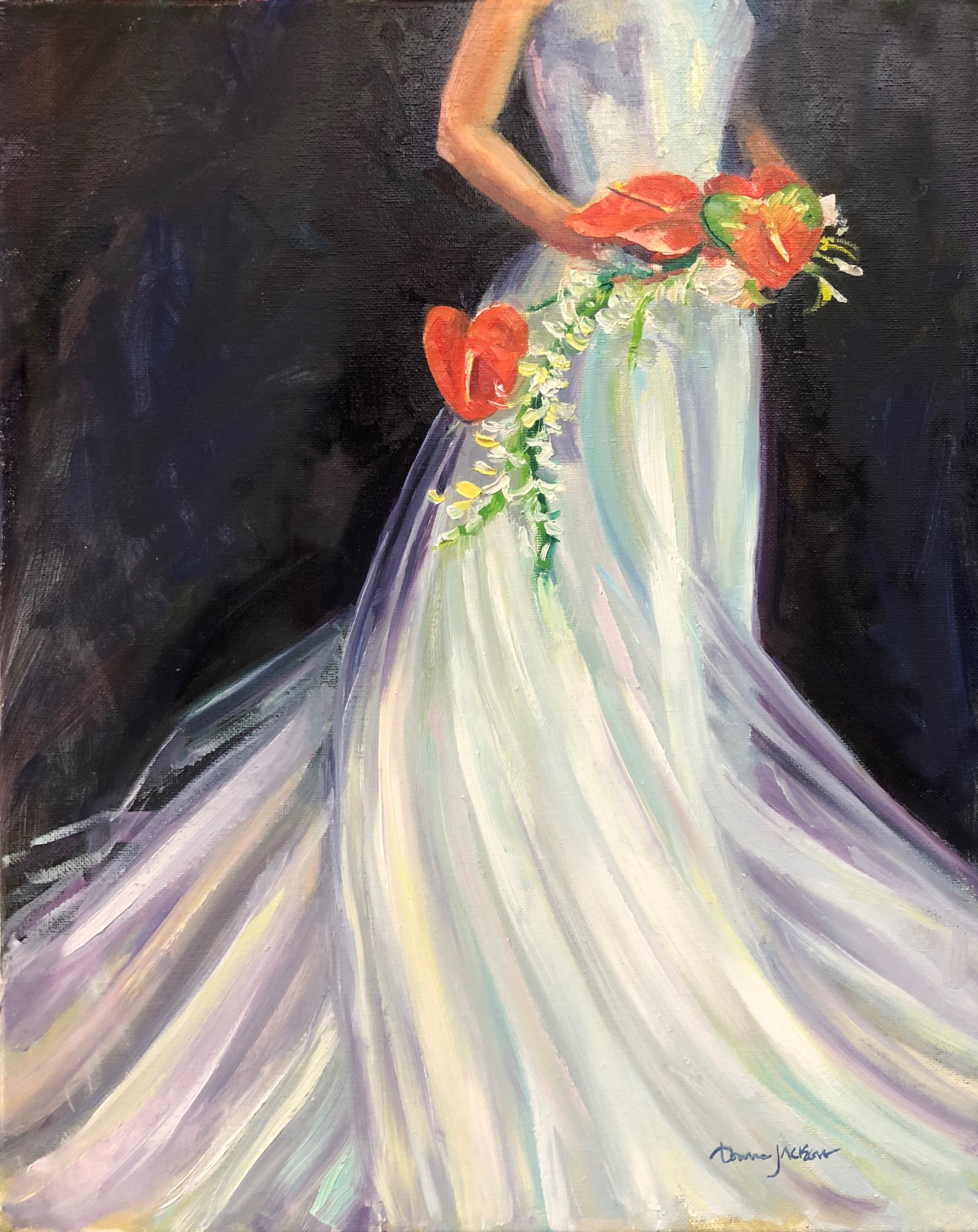 """""""For our twelfth Anniversary we wanted to celebrate with a painting with a modern twist. i love the way Donna painted my dress and Anthurium bouquet! It captures the joyous memories of a day that flew by so fast. When I saw the finished product I was in AWE!! Truly blown away!  Donna took this beautiful moment and preserved it for us forever!  We love it!""""  Rachel and Alan Tuttle"""