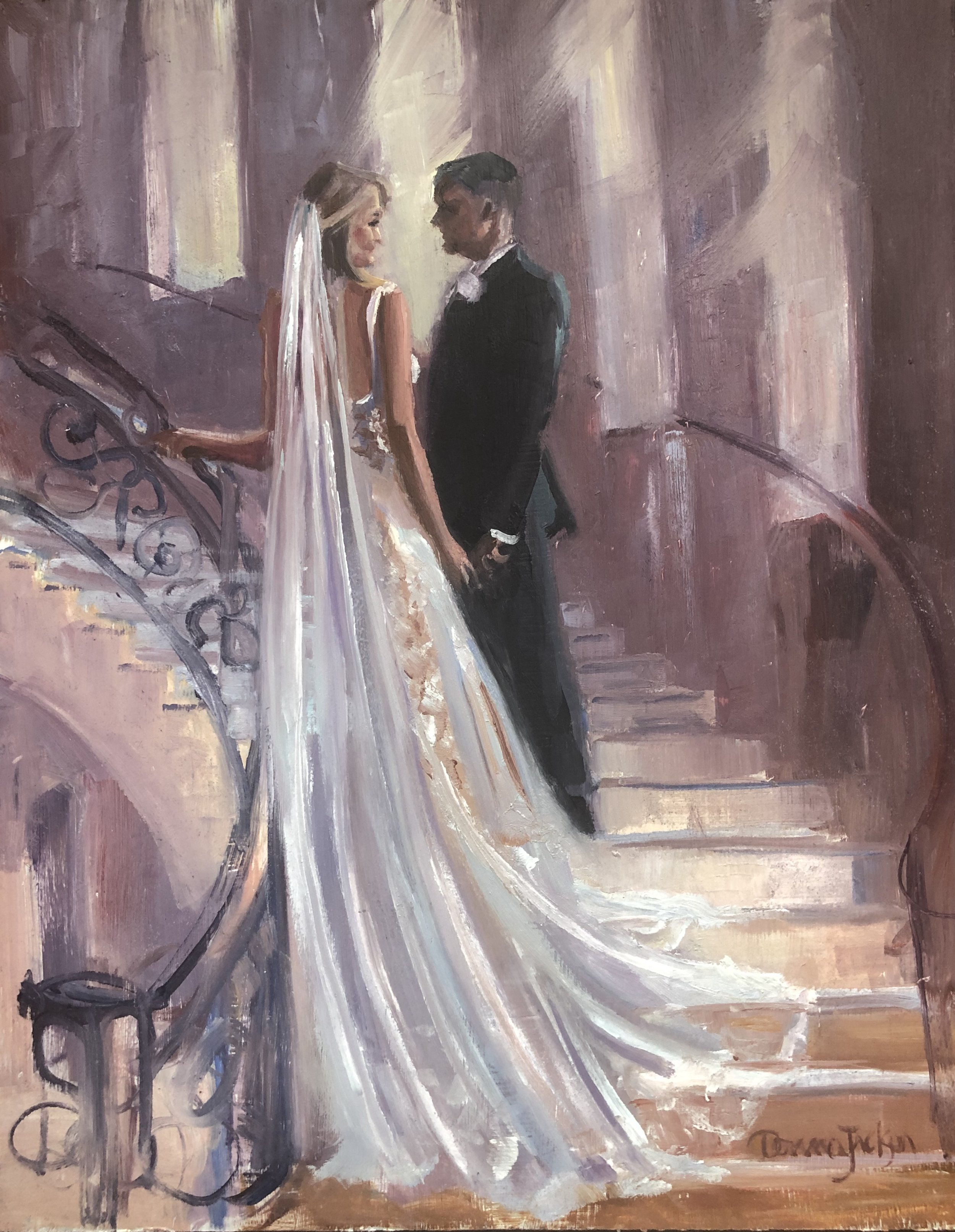 """While painting the  """"live painting""""  at Mariah and Aaron's wedding I took a photo of this scene and painted it the next week in my studio."""