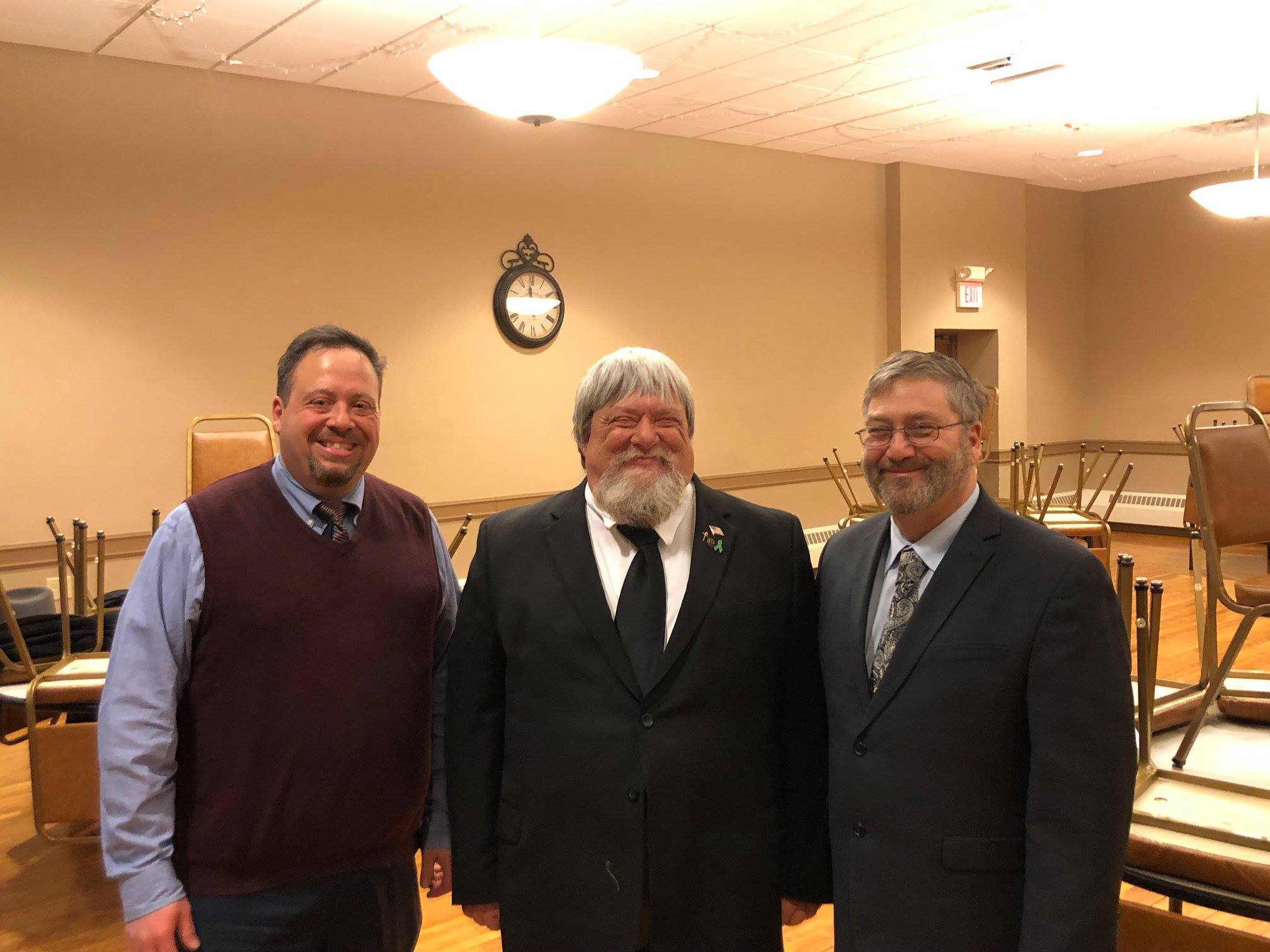 On February 25, 2019, Florence Lodge #281 conferred the Entered Apprentice Degree on Brian D. Christiansen. Charlie Odorizzi (right) presided as Master. Rex Waller from Shiloh Lodge #327 served as Senior Warden and Chrisian Soseman from Mercer Lodge #290 served as Junior Warden. The 1st section lecture was given by David Kipp and Jeffrey Merriman. John Dimon from Mercer Lodge #290 gave the 2nd section lecture, and Paul Welsch gave the 3rd section lecture. Andrew Muska from Lininger Lodge #268 delivered the Charge. We look forward to welcoming Brian at Florence Lodge #281.