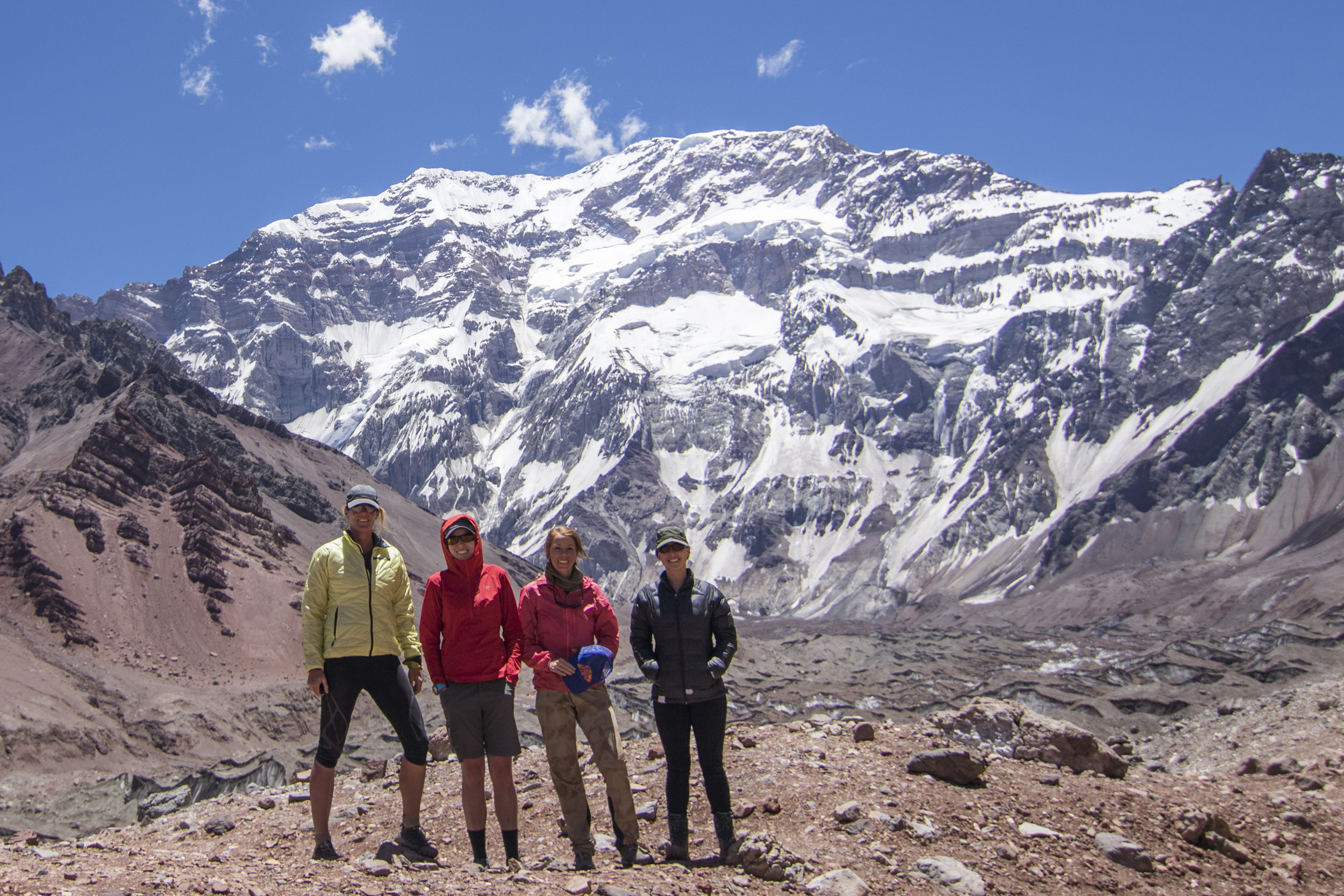 Team Asquerosa on an acclimatization hike in front of Aconcagua's imposing south face, which is equal parts massive and hazardous