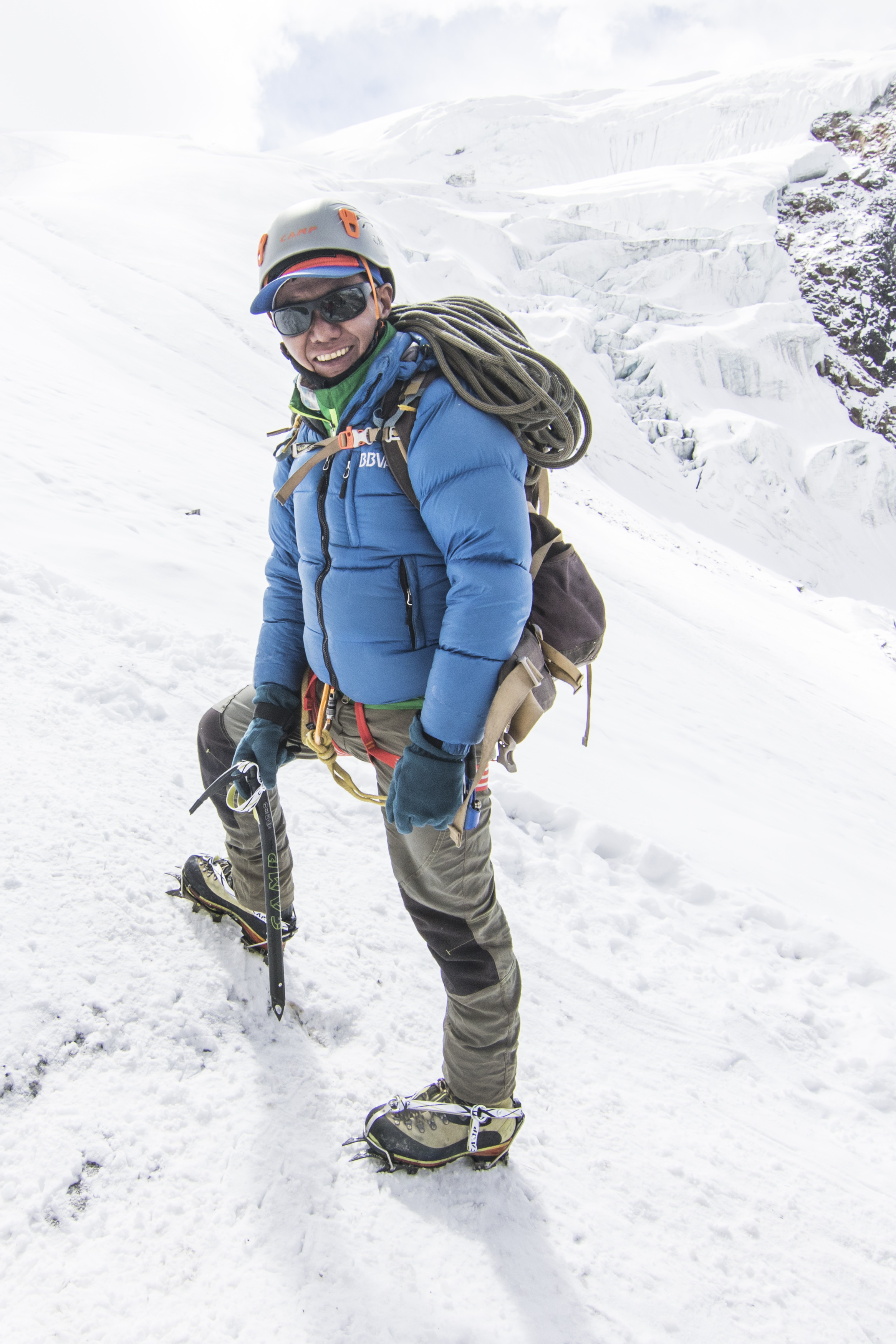 AWExpeditions friend & many-time climbing sirdar Mingma Sherpa is all smiles in his new  CAMP  gear - crampons, ice axe, helmet & harness!