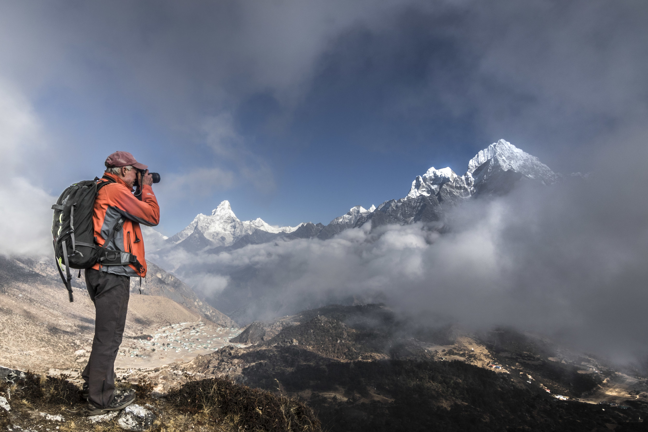 David Breashears photographs the famous mountain view of Ama Dablam and Thamserku from above Namche/Khunde