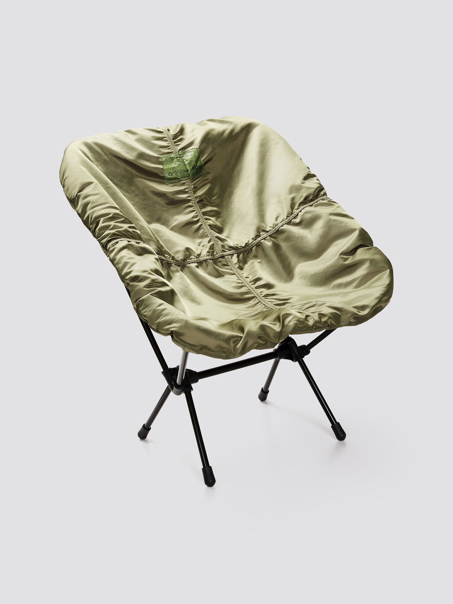 "HELINOX X ALPHA CHAIR KIT — $279.00   ""A lightweight camp chair. Comes with Helinox and Alpha Industries branded carrying bag and flight nylon seat cover """