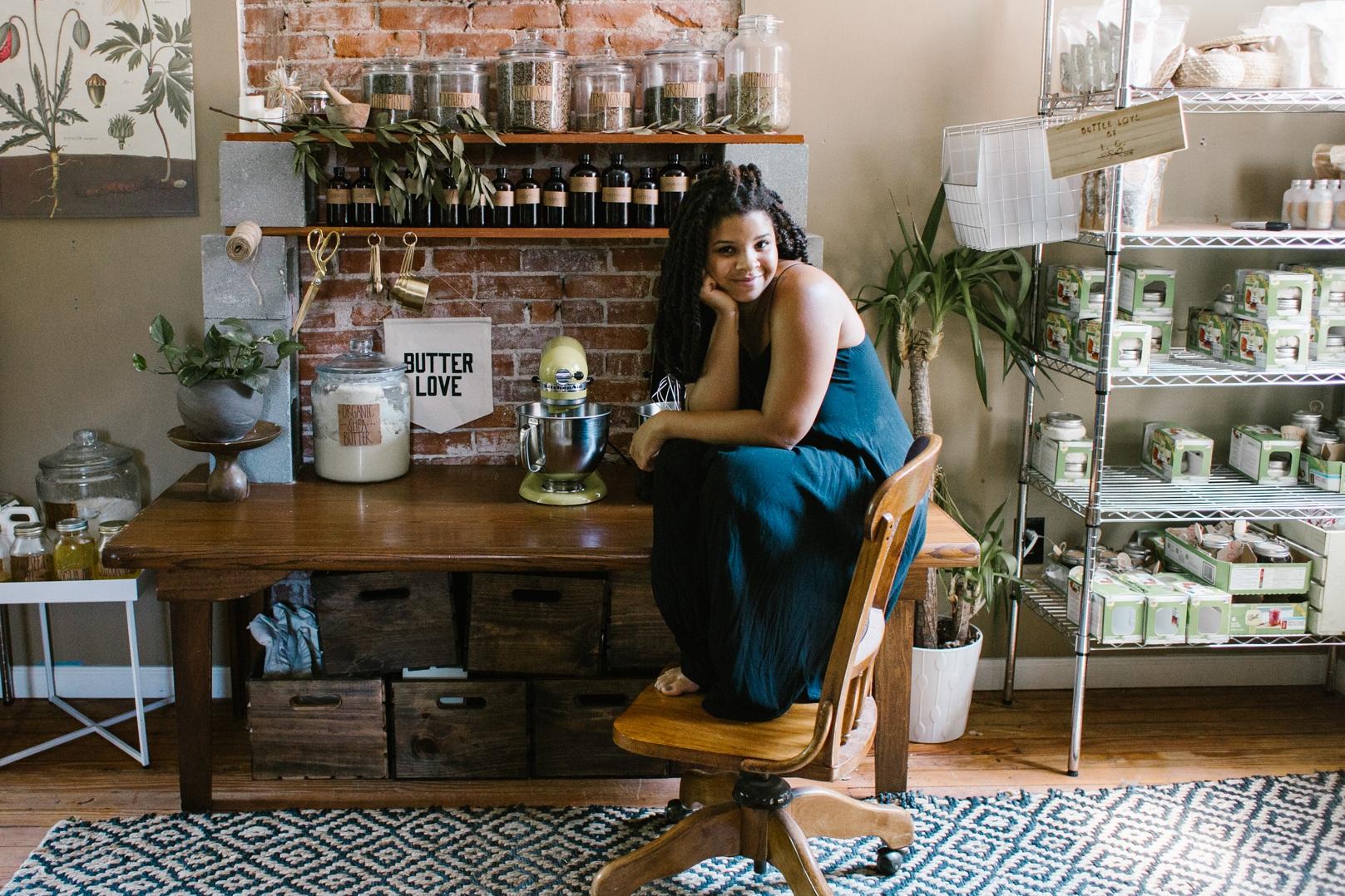 La'Crassia in her studio. Photo by Abby Gillardi.