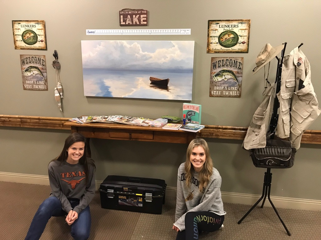 Great Outdoors Station - Outdoorsmen and women will love spending time enjoying a tackle box, fishing lures (remove all hooks with plyers!), bobbers, fishing glove, hats, books on the outdoors and fishing, decorative fishing items, and clothing.Visit the Gallery for additional pictures of this Destination Station.