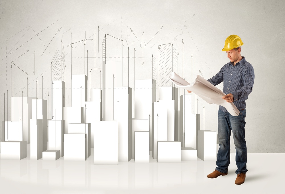 Construction worker planing with 3d buildings in background concept.jpeg