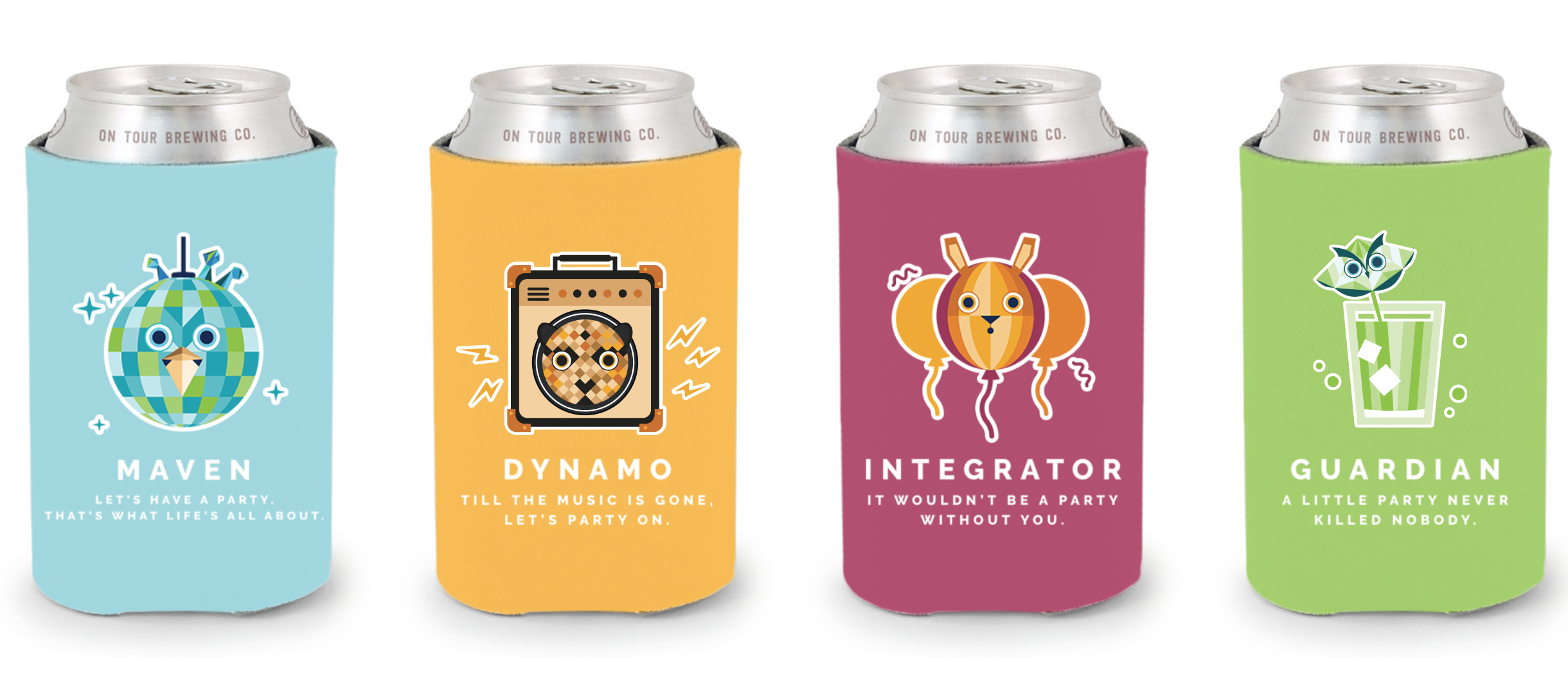 Koozies that helped illustrate what kind of Party Animals our Personas can turn into.