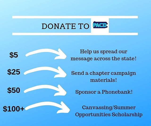 CALLING ALL SUPPORTERS🗣  Please consider donating to our ActBlue account in order to help us move forward with our goals, including but not limited to those listed above!  Share this link to contribute: https://secure.actblue.com/donate/pennsylvania-college-democrats-1