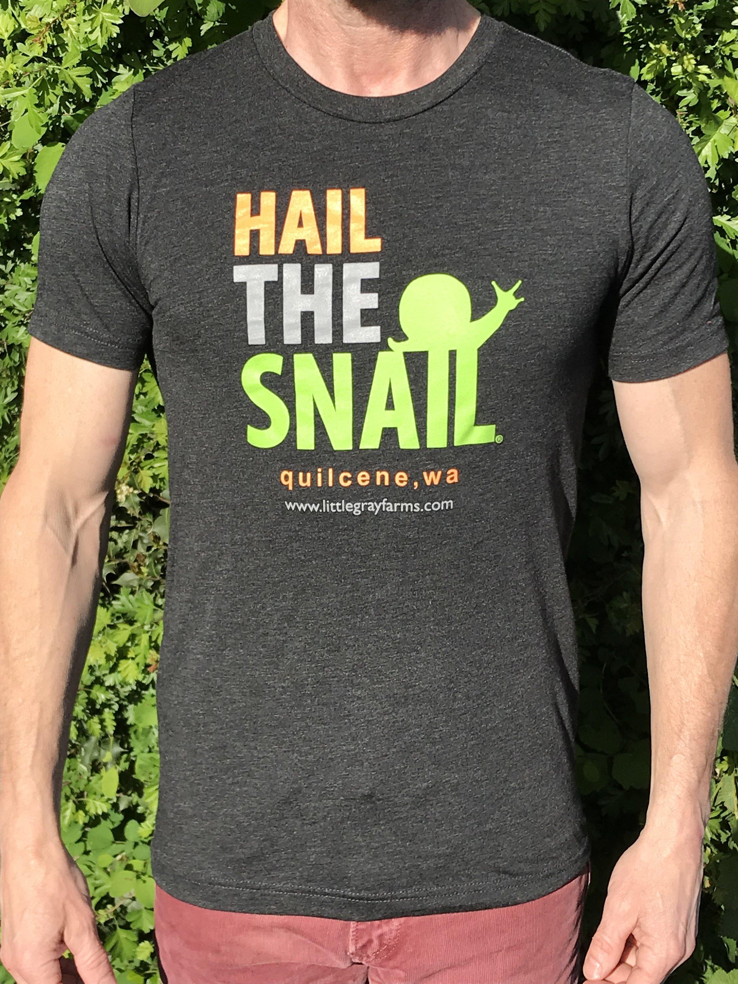 "Our custom ""Hail the Snail"" t shirt now available!"
