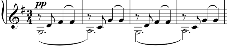 Opening four bars, which sets the rhythm and tone for the first half of the piece.