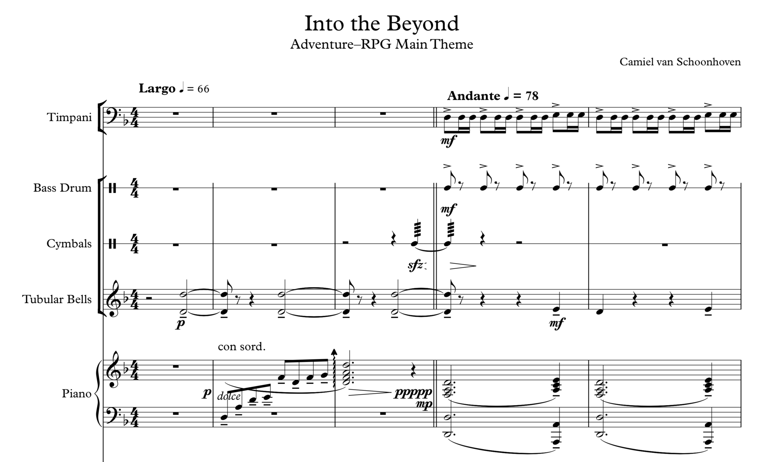 The opening bars for percussion and piano.