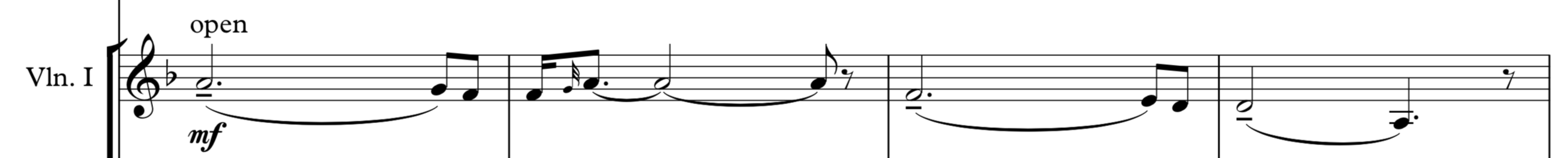 Main theme, first appearing in the violins.