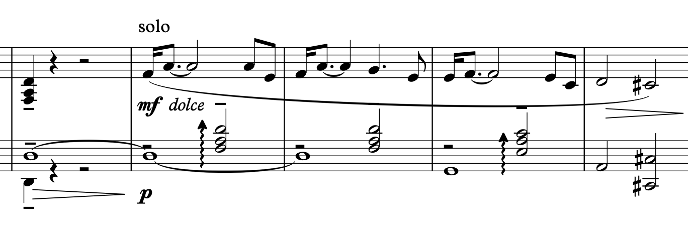 Piano solo directly before the organ enters the piece; notice similarities to the original theme.
