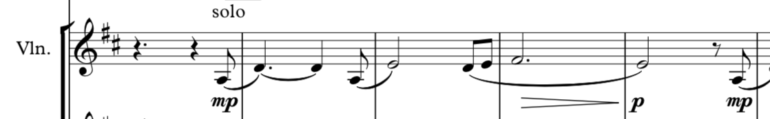 Opening four bars, and melody, of the violin solo.
