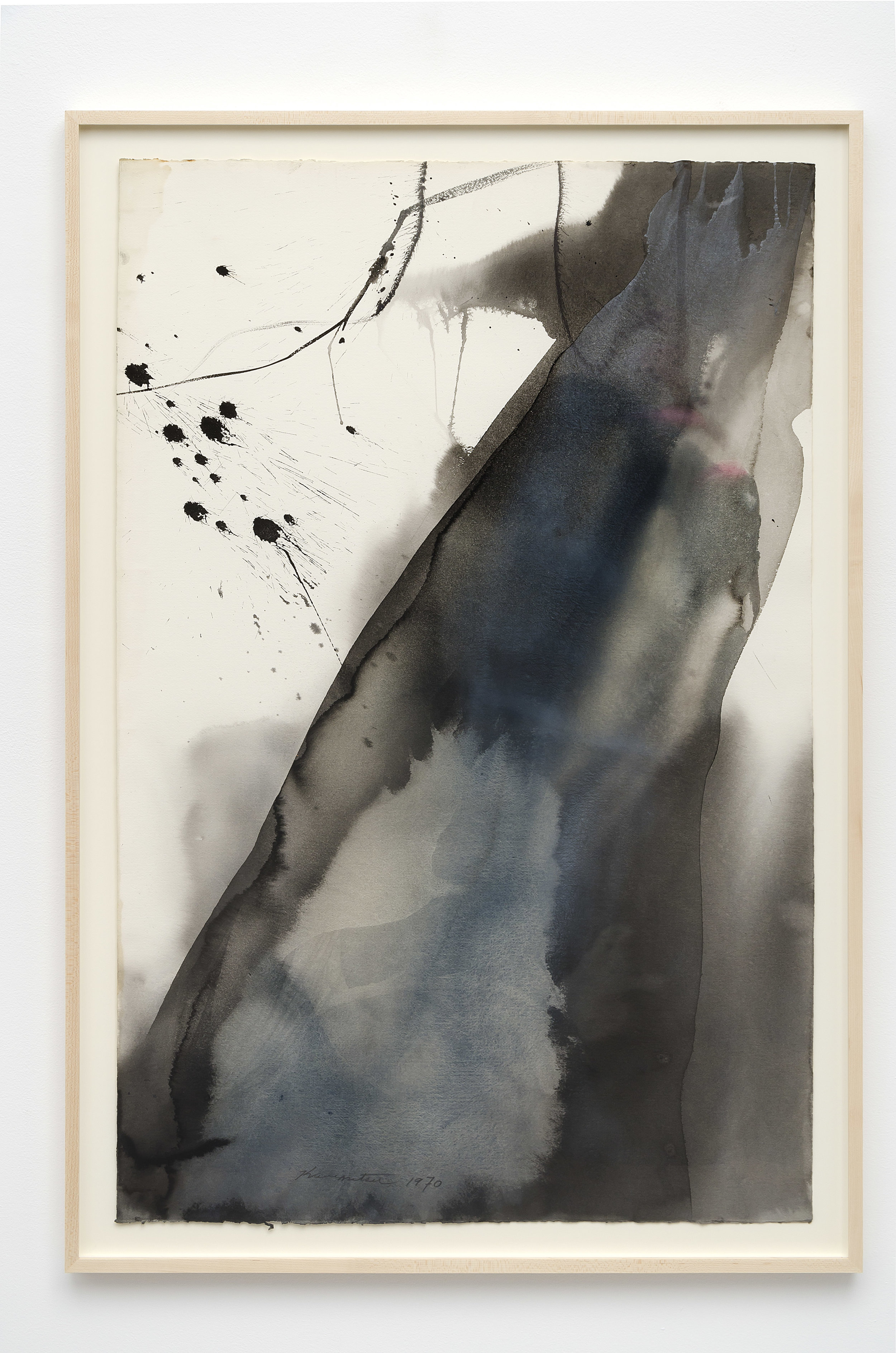 Untitled   1970  sumi and watercolor on paper  43.75 x 29.25 inches, 111.1 x 74.3 centimeters