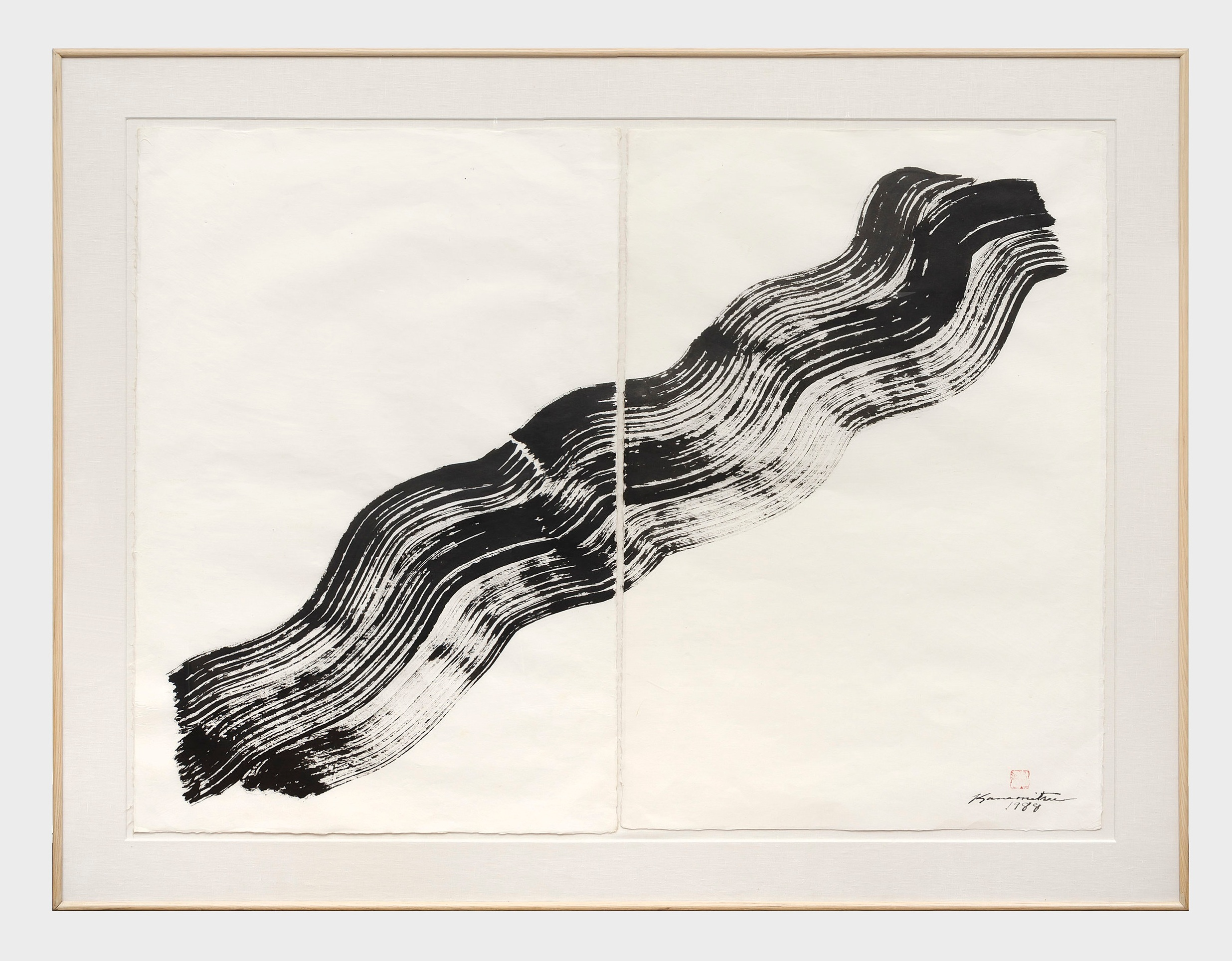 Nagare #4   1988  sumi on handmade Japanese paper  46 7/8 x 58 7/8 inches, 119.1 x 149.5 centimeters