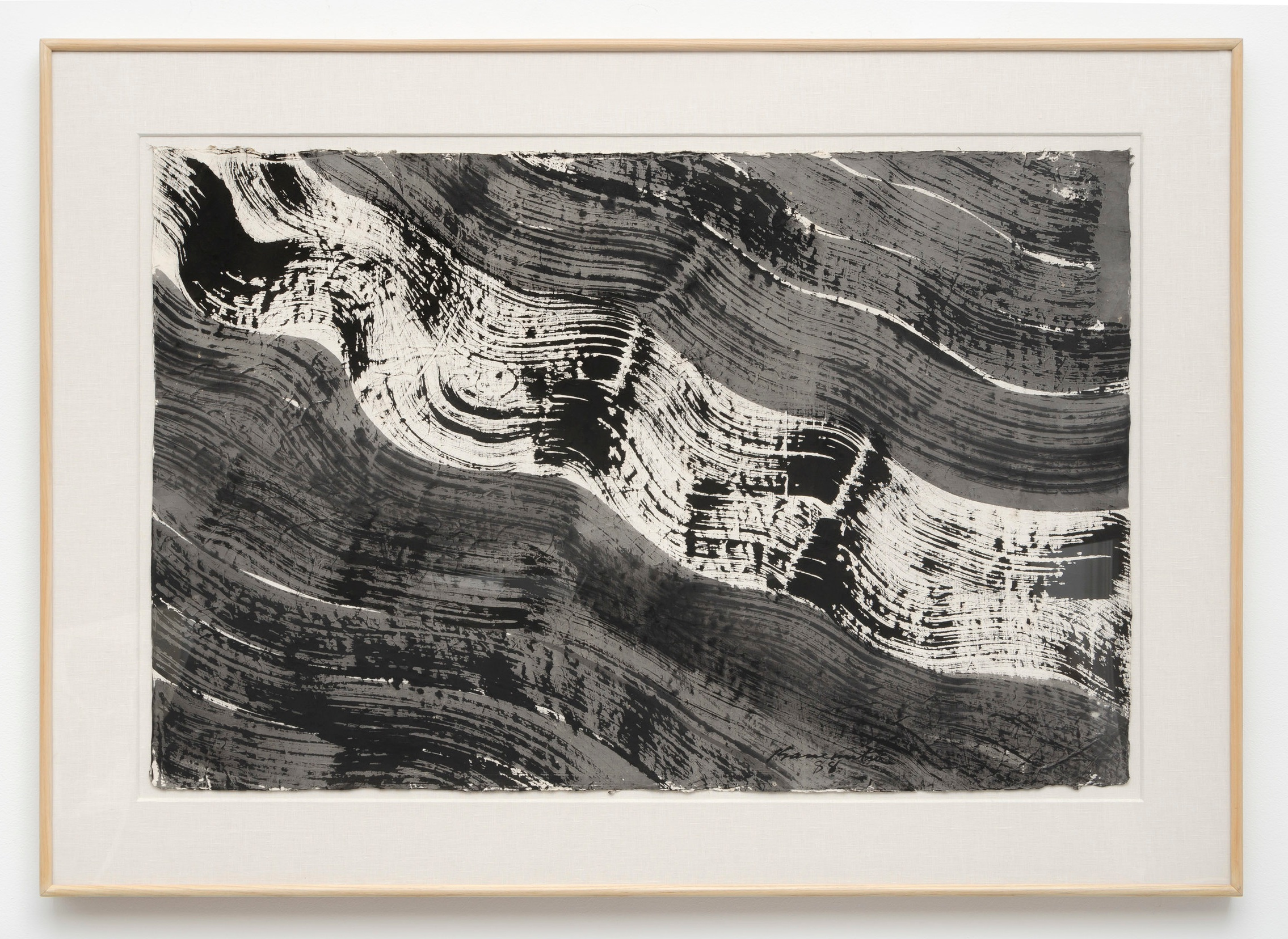 Nagare #5   1988  sumi on handmade Japanese paper  33.5 x 46.5 inches, 85.1 x 118.1 centimeters