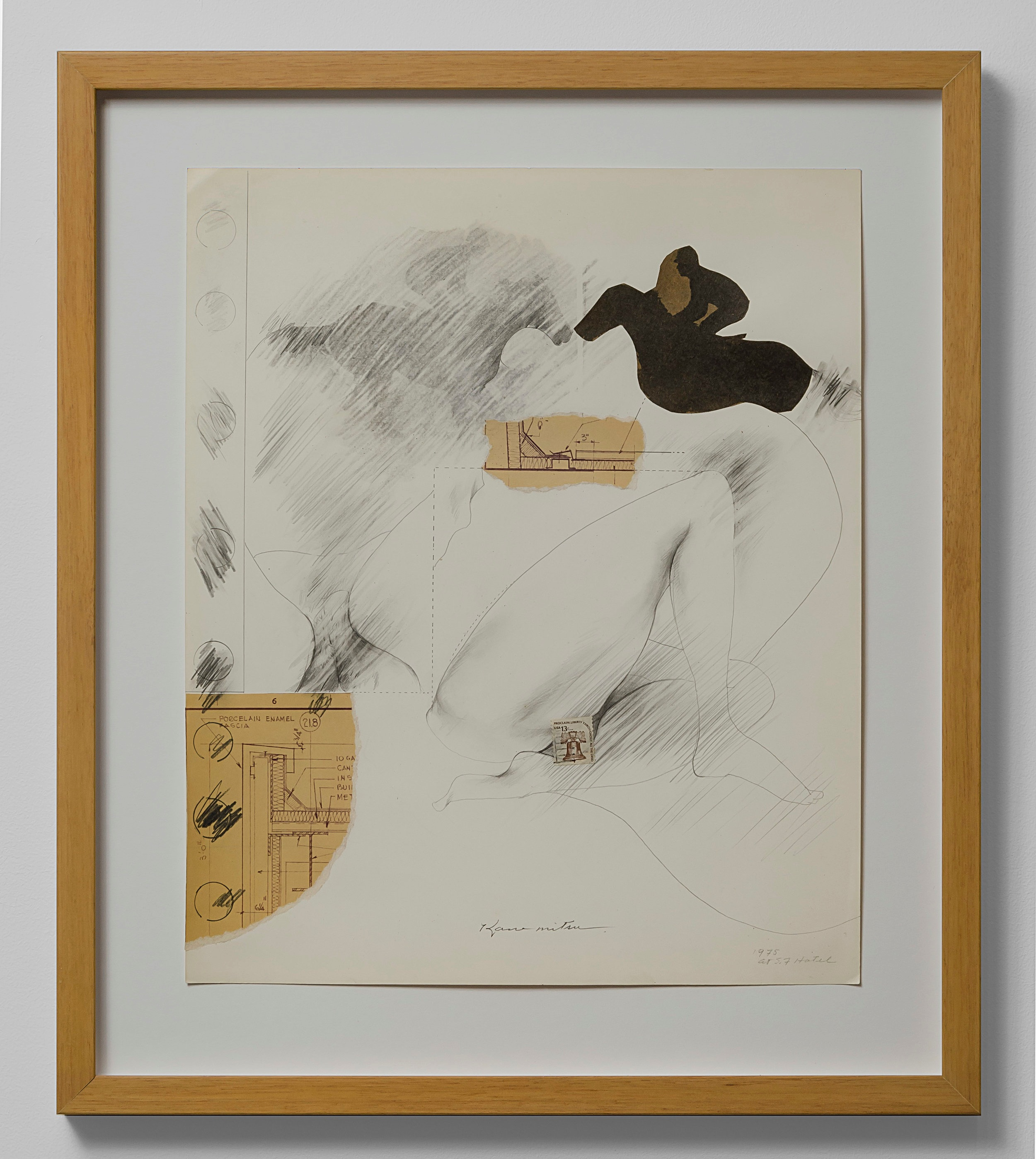 Untitled   1975  paper collage and graphite on paper  17 x 14 inches, 43.2 x 35.6 centimeters